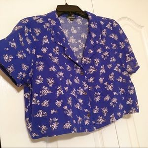 Floral Cropped Button Up